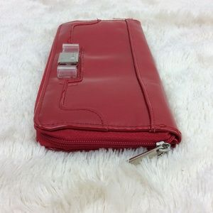 Lulu Red Patent Wallet Zip Around Clear Bow Detail
